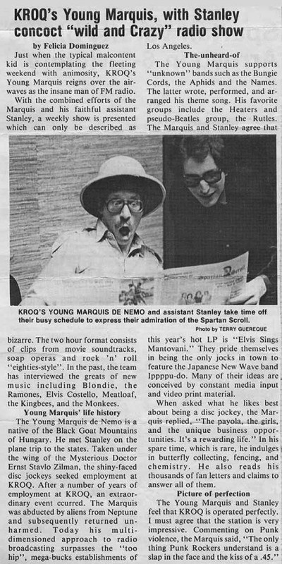 Newspaper article about The Young Marquis and Stanley