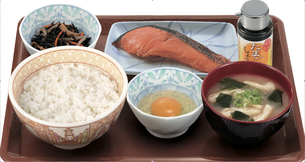 Sukiya morning set with baked salmon, rice, raw egg, pickled vegetables and miso soup. I can eat this everyday.
