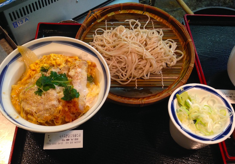 Katsudon (fried pork cutlet on bed of rice) and plate of cold soba for ¥600 (about $4.80 USD)